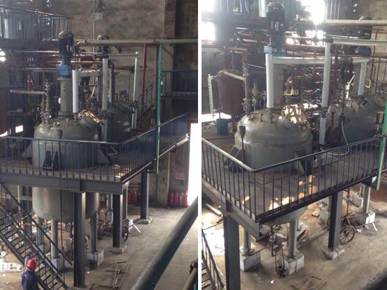 我公司设计制造的9100L的2台不锈钢磁力加氢反应釜