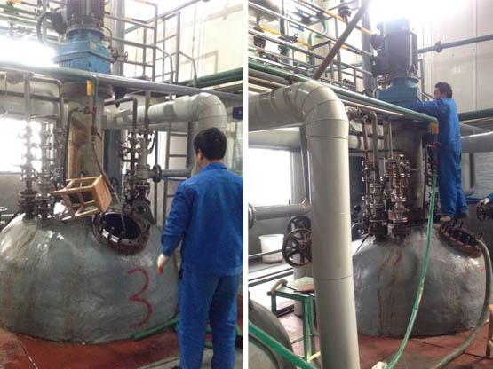 我公司设计制造的5.5MPa、11000L的4台碳钢碱溶釜