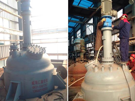 我单位给制药企业设计制造的5600L的高压磁力密封反应釜